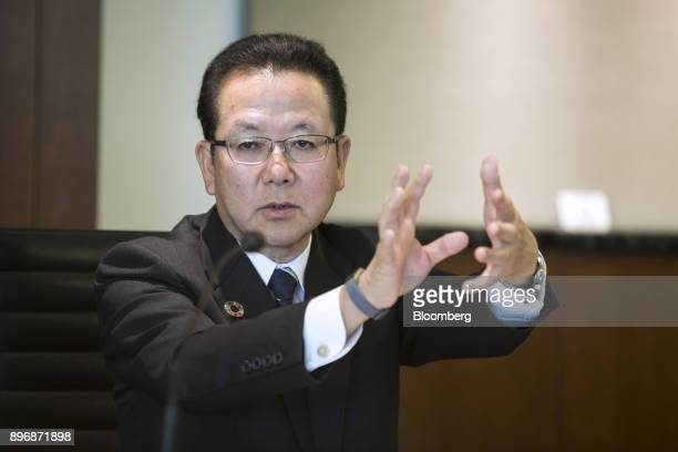 Tatsuya Tanaka president of Fujitsu Ltd speaks during a roundtable interview in Tokyo Japan on Friday Dec 22 2017 Fujitsu and Microsoft Corp today...