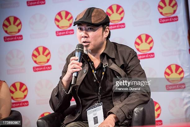 Tatsuyuki Tanaka speaks during the 'TOYOTA x STUDIO4AC meets ANA PES' world premiere screening during the Japan Expo at Parisnord Villepinte...