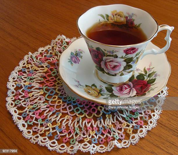 Tatted Lace Doily With Antique Tea Cup