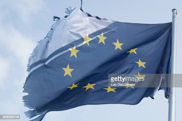 Tattered European flag, Still Flying Free and Proud