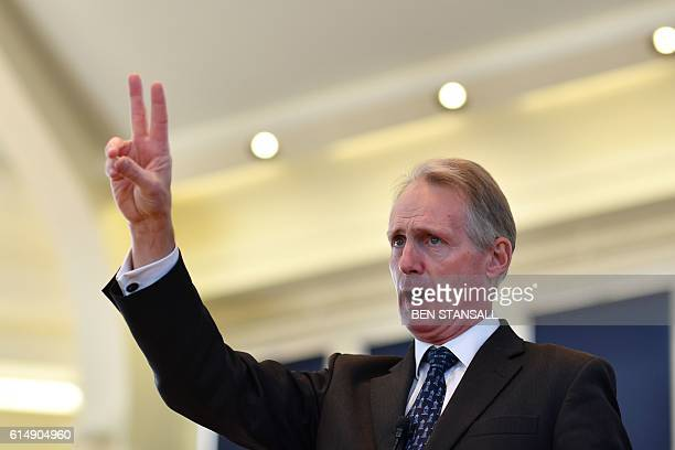 Tattersalls Chairman Edmond Mahony auctions horses in the ring at the Tattersalls Bloodstock Auction in Newmarket north of London on October 11 2016...