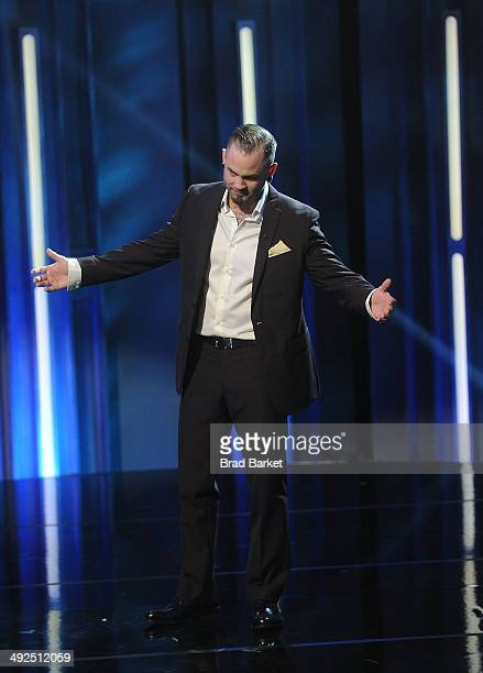 Tatto artist Scott Marshall reacts during Spike TV's Ink Master Season 4 LIVE Finale at SIR Stage 37 on May 20 2014 in New York City Scott Marshall...