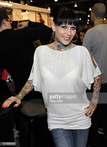 """Tattoo artist and model Michelle """"Bombshell"""" McGee appears at the 2011 AVN Adult Entertainment Expo at the Sands Expo and Convention Center January..."""