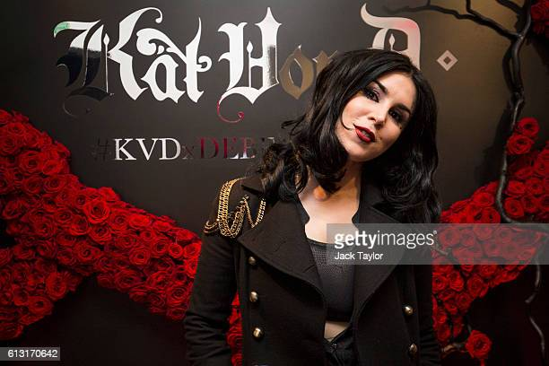Tattoo artist and television personality Kat Von D attends an influencer launch of the new Kat Von D Beauty range at 15 Bateman Street on October 7...