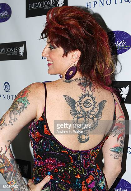 Tattoo artist Friday Jones attends the opening of her Friday Jones Fifth Ave Tattoo Studio at Senses NY Salon Spa on July 14 2009 in New York City