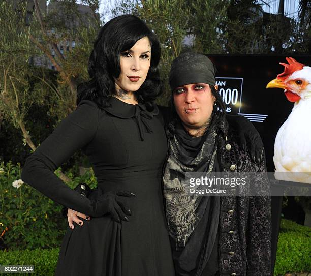 Tattoo artist Kat Von D and painter Kevin Llewellyn arrive at Mercy For Animals Hidden Heroes Gala 2016 at Vibiana on September 10, 2016 in Los...