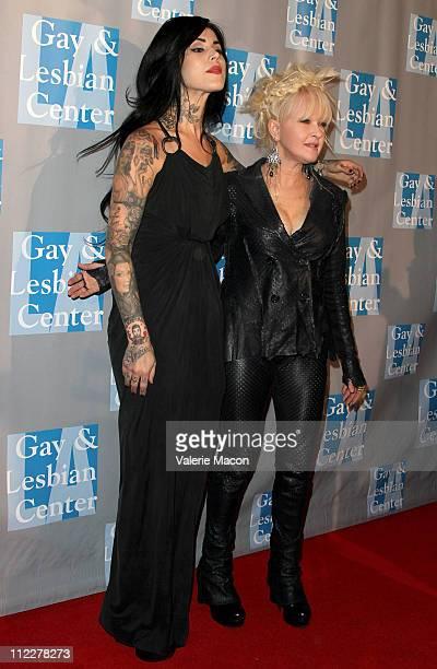Tattoo Artist Kat Von D And Singer Cyndi Lauper Arrive At The La Gay Lesbian Centers
