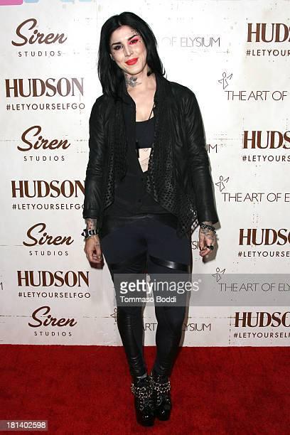 Tattoo artist Kat Von D attends The Art Of Elysium's Genesis Gala held at the Siren Cube on September 20, 2013 in Los Angeles, California.