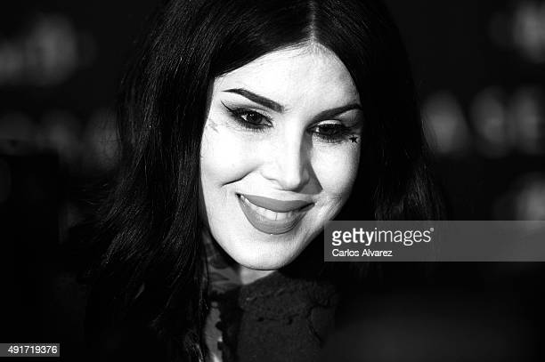Tattoo Artist Kat Von D presents her new Make Up Collection Kat Von D Beauty at the Callao cinema on October 7 2015 in Madrid Spain