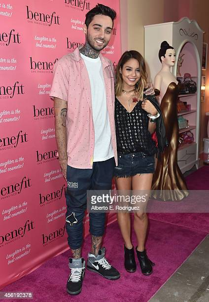Tattoo artist Romeo Lacoste and actress Vanessa Hudgens attend Benefit Cosmetic's 1st Annual National Wing Women Weekend VIP Launch at Space 15...