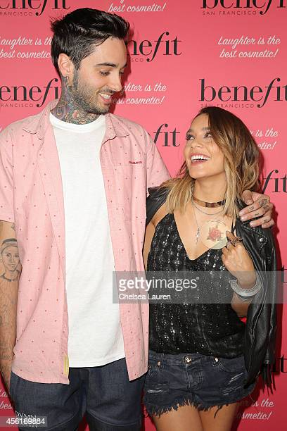 Tattoo artist Romeo Lacoste and actress Vanessa Hudgens attend Benefit Cosmetics' event hosted by Vanessa Hudgens at Space 15 Twenty on September 26...