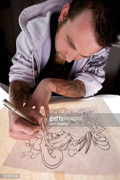 Tattoo Artist Tracing Design