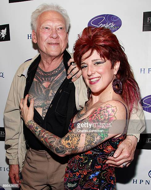 Tattoo artists Lyle Tuttle and Friday Jones attend the opening of Friday Jones Fifth Ave Tattoo Studio at Senses NY Salon Spa on July 14 2009 in New...