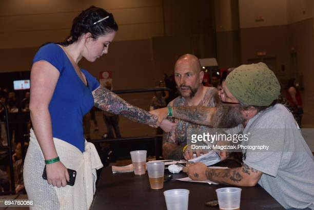 "Tattoo contest for best tattoo during day two of the ""19th Annual Northern Ink Xposure Tattoo Convention"" at the Metro Toronto Convention Centre on..."