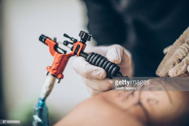 Tattoo in progres close-up