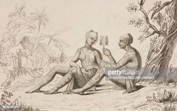 Tattoo of a young woman in Nuku Hiva Marquesas Islands Polynesia engraving by Danvin and Lesueur from Oceanie ou Cinquieme partie du Monde Revue...