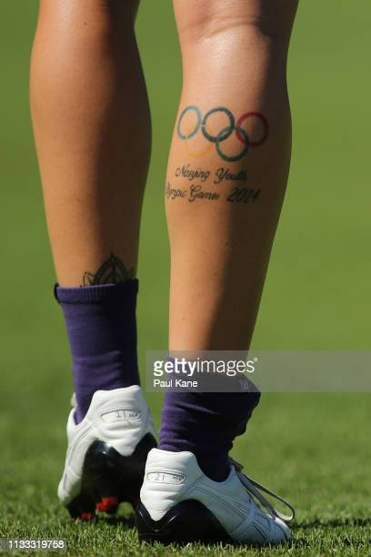 Tattoo of Kellie Gibson of the Dockers is seen during the round five AFLW match between the Fremantle Dockers and the Western Bulldogs at Fremantle...