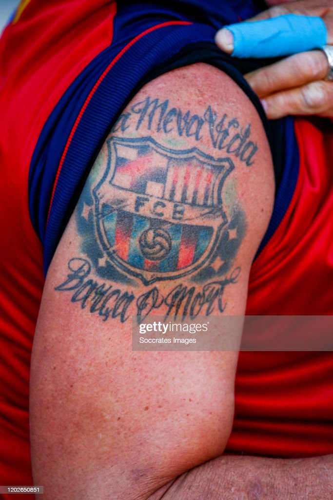 tattoo of supporters of fc barcelona during the la liga santander news photo getty images 2