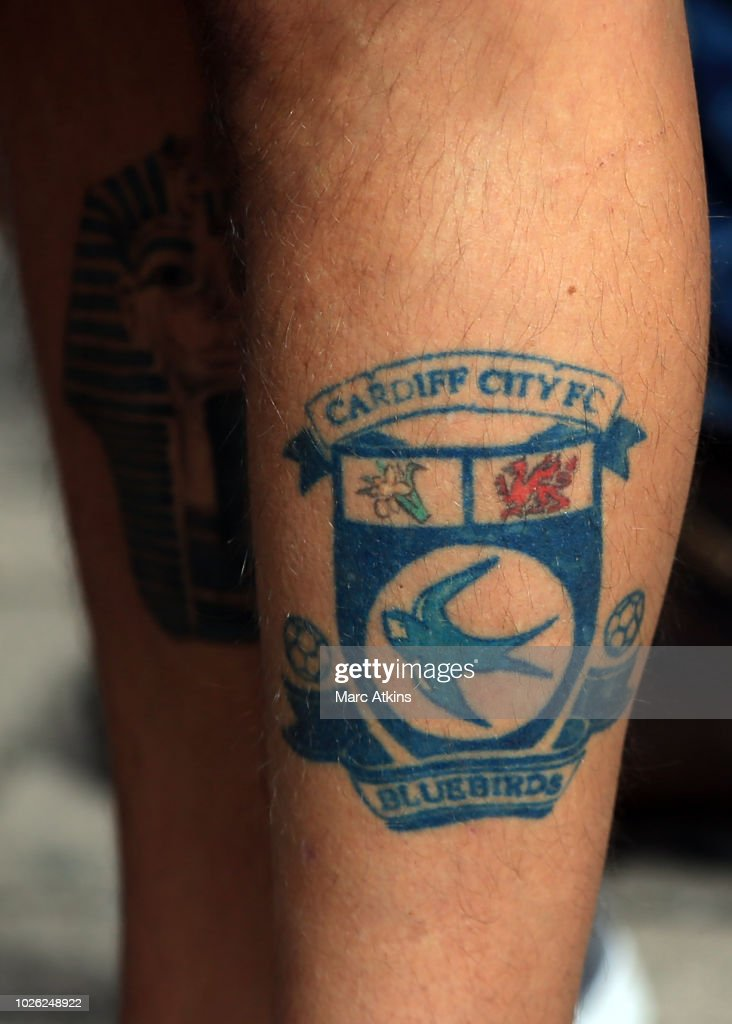 A Tattoo Of The Cardiff City Crest Is Seen On A Fans Leg During The News Photo Getty Images