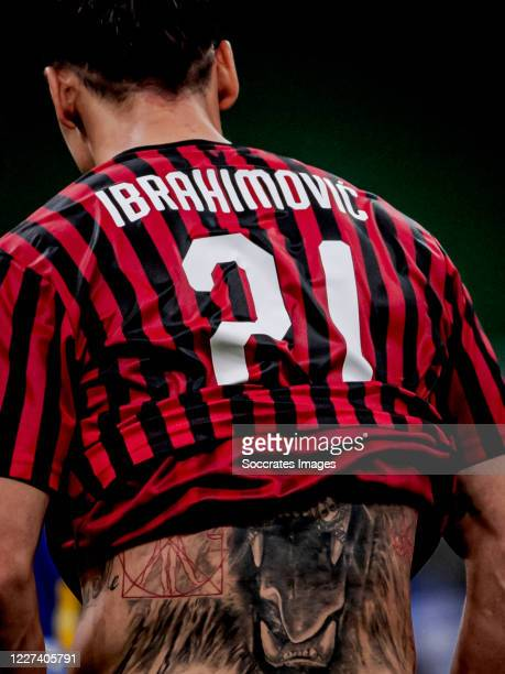 Tattoo of Zlatan Ibrahimovic of AC Milan during the Italian Serie A match between AC Milan v Parma on July 15, 2020