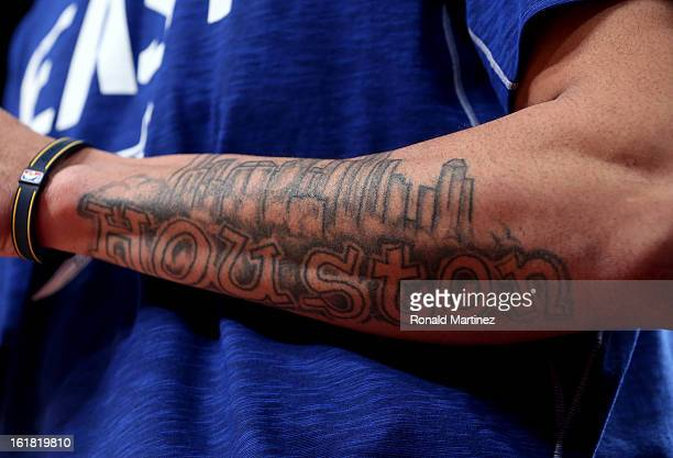 A tattoo on the arm of Gerald Green of the Indiana Pacers that says Houston is seen during the Sears Shooting Stars Competition part of 2013 NBA...