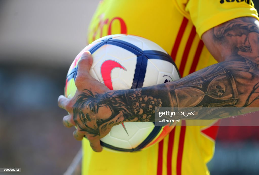 A tattoo on the arm of Jose Holebas of Watford during the Premier League match between Watford and Newcastle United at Vicarage Road on May 5, 2018 in Watford, England.