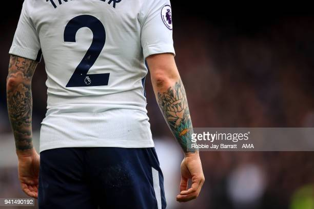 A tattoo on the arm of Kieran Tripper of Tottenham Hotspur is seen during the Premier League match between Chelsea and Tottenham Hotspur at Stamford...