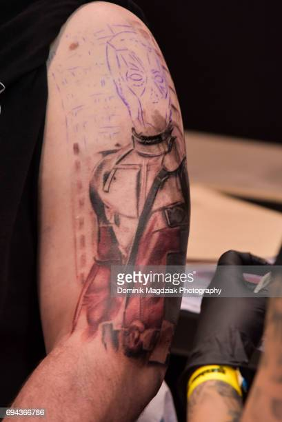 """Tattoo piece being done during day one of the """"19th Annual Northern Ink Xposure Tattoo Convention"""" at the Metro Toronto Convention Centre on June 9,..."""