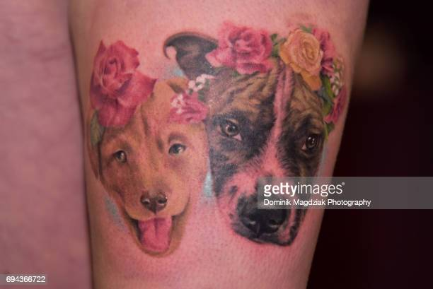 """Tattoo pieces done during day one of the """"19th Annual Northern Ink Xposure Tattoo Convention"""" at the Metro Toronto Convention Centre on June 9, 2017..."""