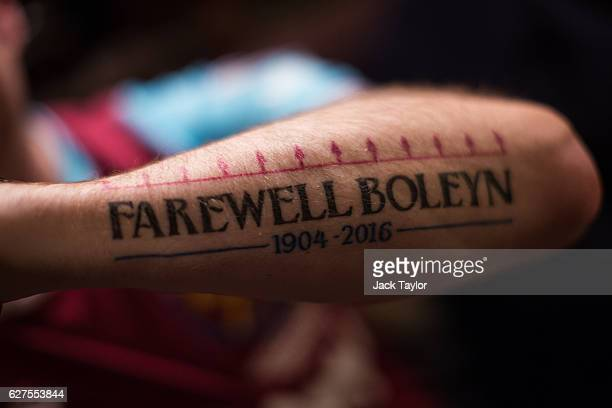 A tattoo which says 'Farewell Boleyn 19042016' is pictured on Darren Powers' arm at the Boleyn Pub in Upton Park on December 3 2016 in London England...