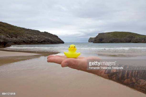Tattooed man holds in his hand a rubber duck on the beach