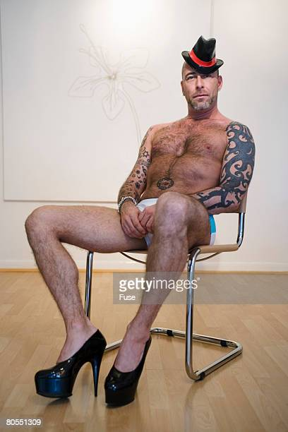 tattooed naked man - hairy chest stock photos and pictures