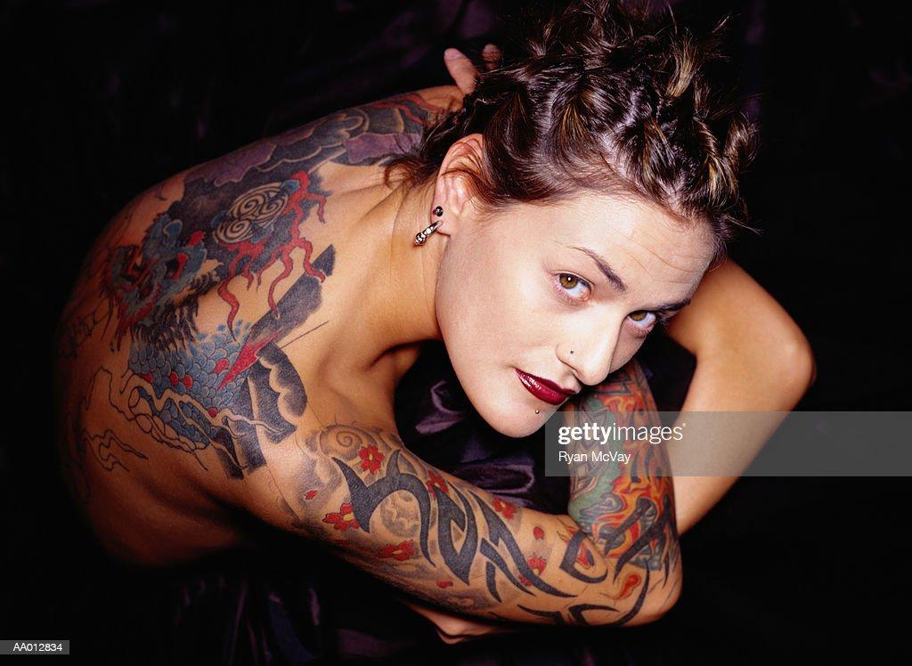 Tattooed Woman : Stock Photo