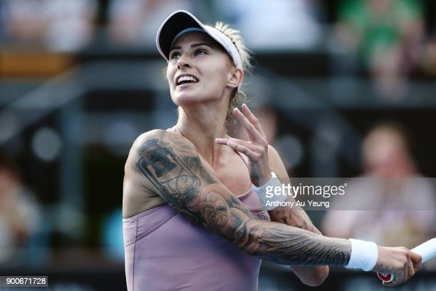 Tattoos are seen on the arms of Polona Hercog of Slovenia in her match against Kirsten Flipkens of Belgium during day three of the ASB Women's...