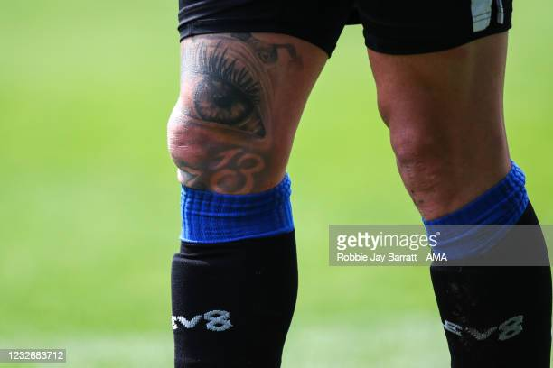 Tattoos on the knee of Callum Paterson of Sheffield Wednesday during the Sky Bet Championship match between Sheffield Wednesday and Nottingham Forest...