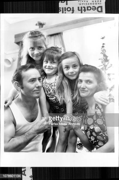 Tattslotto family Mr Nikola Baukovic and his wife Jula with daughters Branca Vesna and Nada *****A FiveYearOld girl won a $12982547 share in...