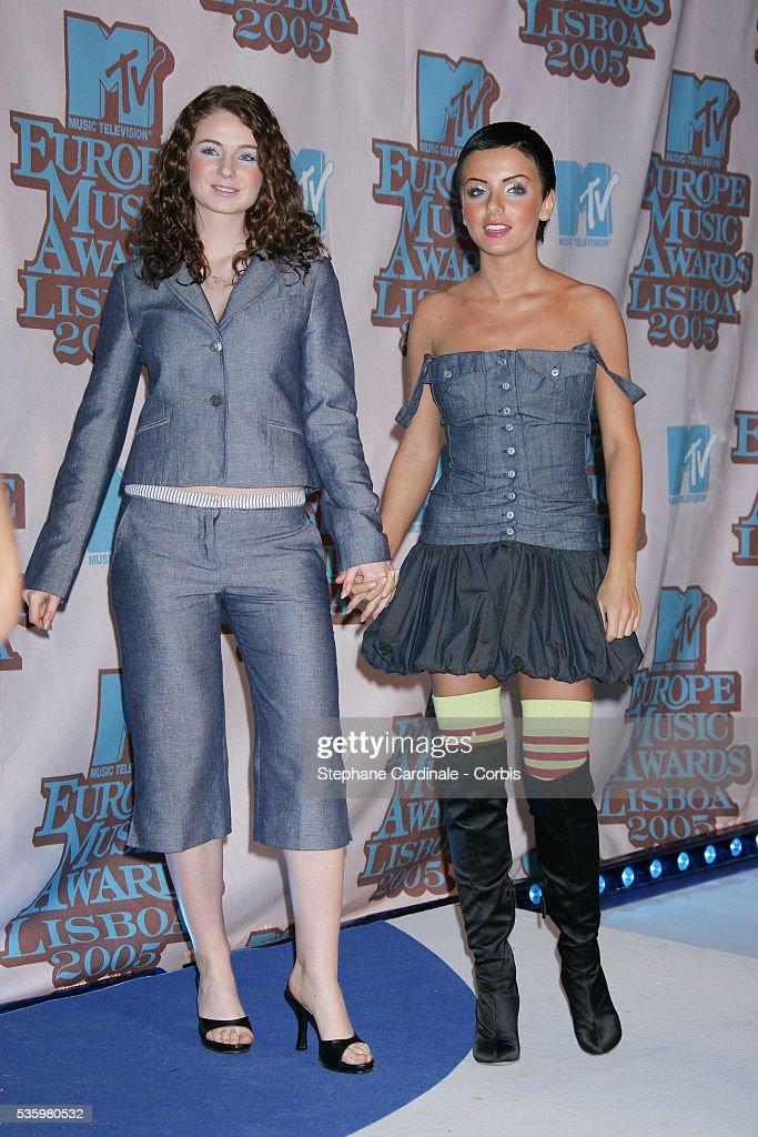 Tatu singers Julia Volkova and Elena Katina arrive at the 12th annual MTV Europe Music Awards 2005 held at the Atlantic Pavilion in Lisbon.