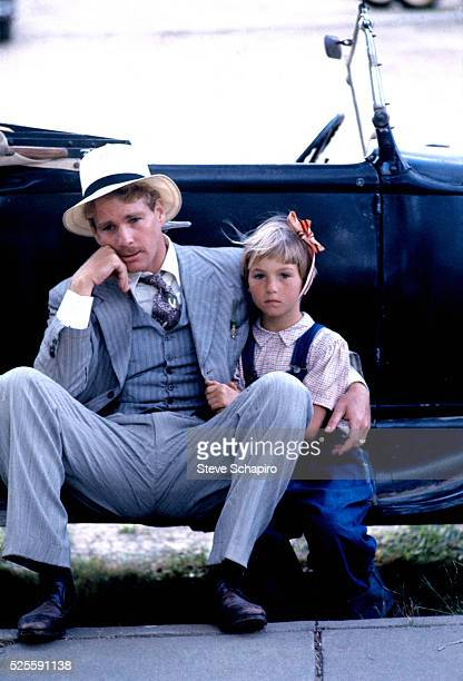 Tatum and Ryan O'Neal during the making of Paper Moon