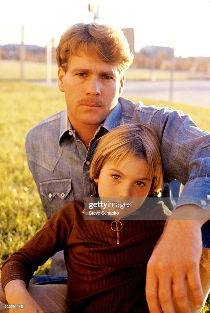 Tatum and Ryan O'Neal during the making of Paper Moon.