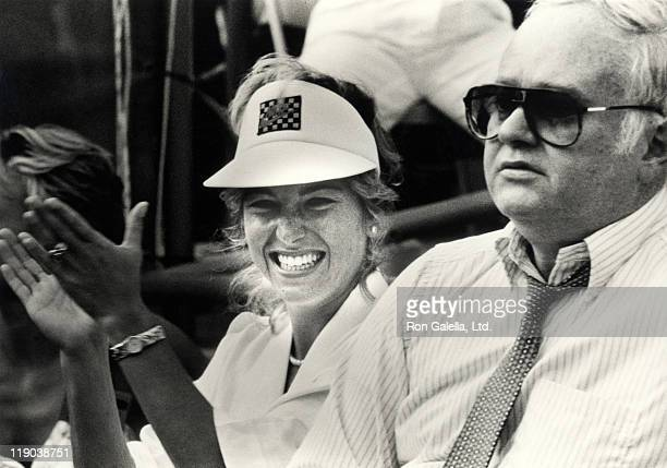 Tatum O'Neal and John McEnroe Sr during US Tennis Open August 27 1985 at Flushing Meadows Park in Queens New York United States