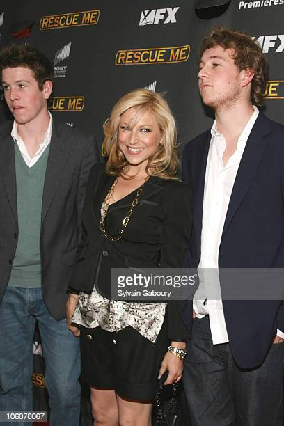 Tatum O'Neal and sons during The Season Three New York Premiere Screening of 'Rescue Me' arrivals at The Ziegfeld Theater in New York New York United...
