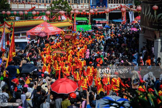 Tatungs are seen marching during the parade at the Cap Go Meh festival celebration The ancient art of Tatung which is a part of the Cap Go Meh...