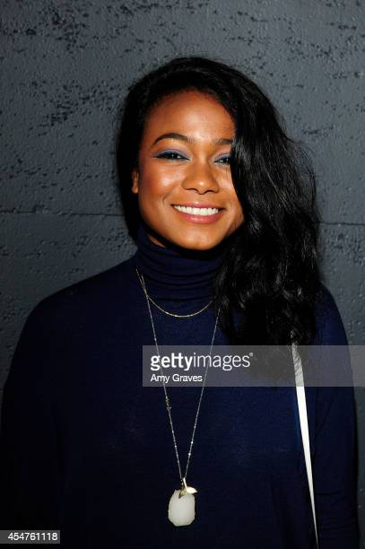 Tatyana Ali attends The Art of Elysium's 6th Annual GENESIS at The Theatre at Ace Hotel Downtown LA on September 5 2014 in Los Angeles California