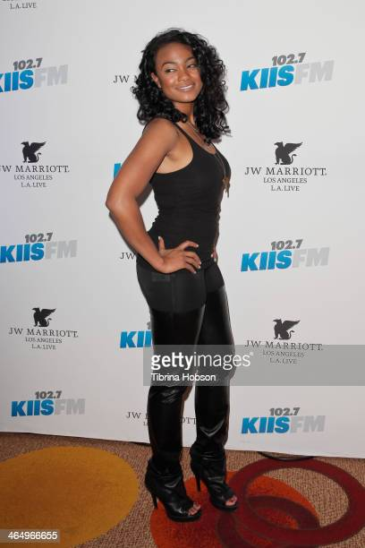 Tatyana Ali attends the KIIS 1027 and ALT 987 FM preGrammy party and lounge at JW Marriott Los Angeles at LA LIVE on January 24 2014 in Los Angeles...