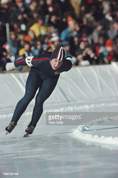 Tatyana Averina of the Soviet Union skates in the Women's 1000 metres speed skating event during the XII Olympic Winter Games on 7 February 1976 at...