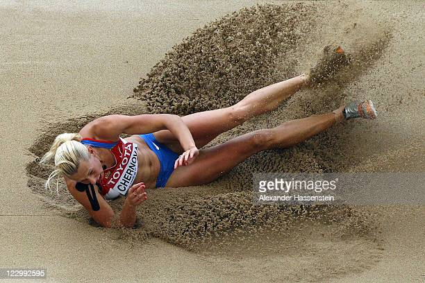 Tatyana Chernova of Russia competes in the long jump in the women's heptathlon during day four of the 13th IAAF World Athletics Championships at the...