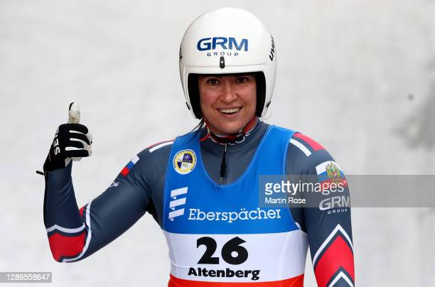 Tatyana Ivanova of Russia celebrates after winning the 2nd run during the women's single during the FIL Luge World Cup at at ENSO-Eiskanal on...