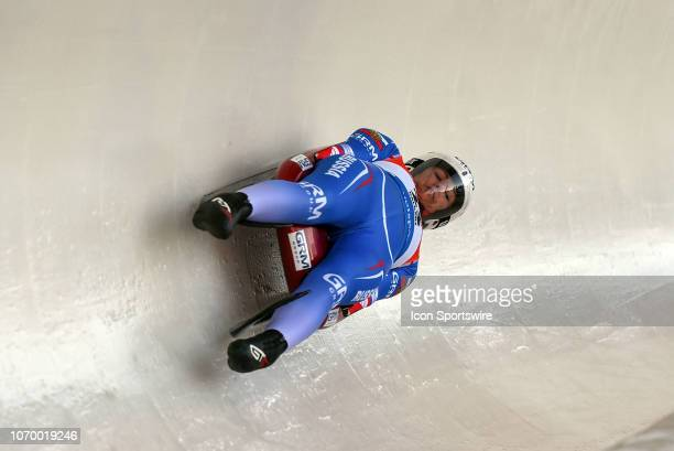 Tatyana Ivanova of Russia competes during the Viessmann Luge World Cup on December 8 at the Luge Track at Winsport's Canada Olympic Park in Calgary AB