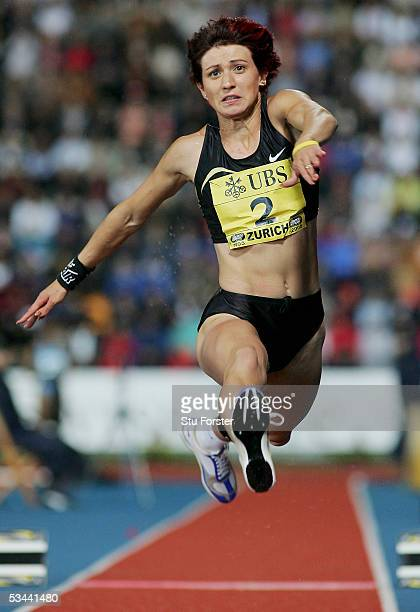 Tatyana Lebedeva of Russia in action in the women's triple jump during the IAAF Golden League meeting at the Letzigrund Stadium on August 19 2005 in...