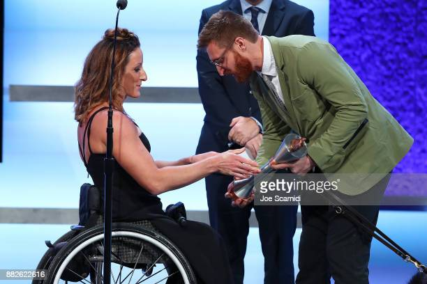 Tatyana McFadden and Brad Snyder are seen on stage during the 2017 Team USA Awards on November 29 2017 in Westwood California